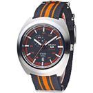 SEIKO 迷彩運動風5號24石自動機械錶(SSA287K1)-黑*橘紅/45mm