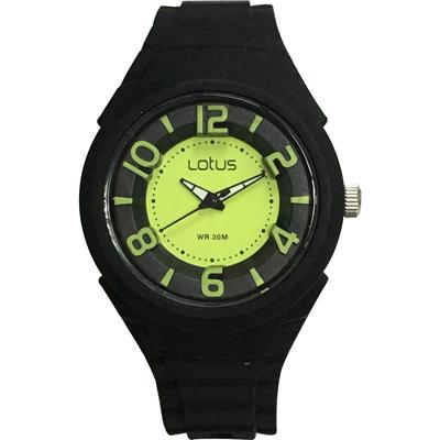 Lotus 撞色潮流 立體指針休閒女錶(TP2132L-03)-黑x螢光綠/37mm