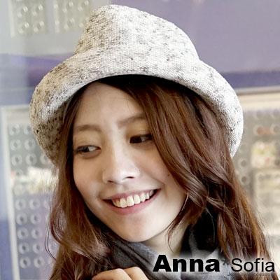 AnnaSofia 絮點藍辮帶 細線織紳士帽(杏黃系)