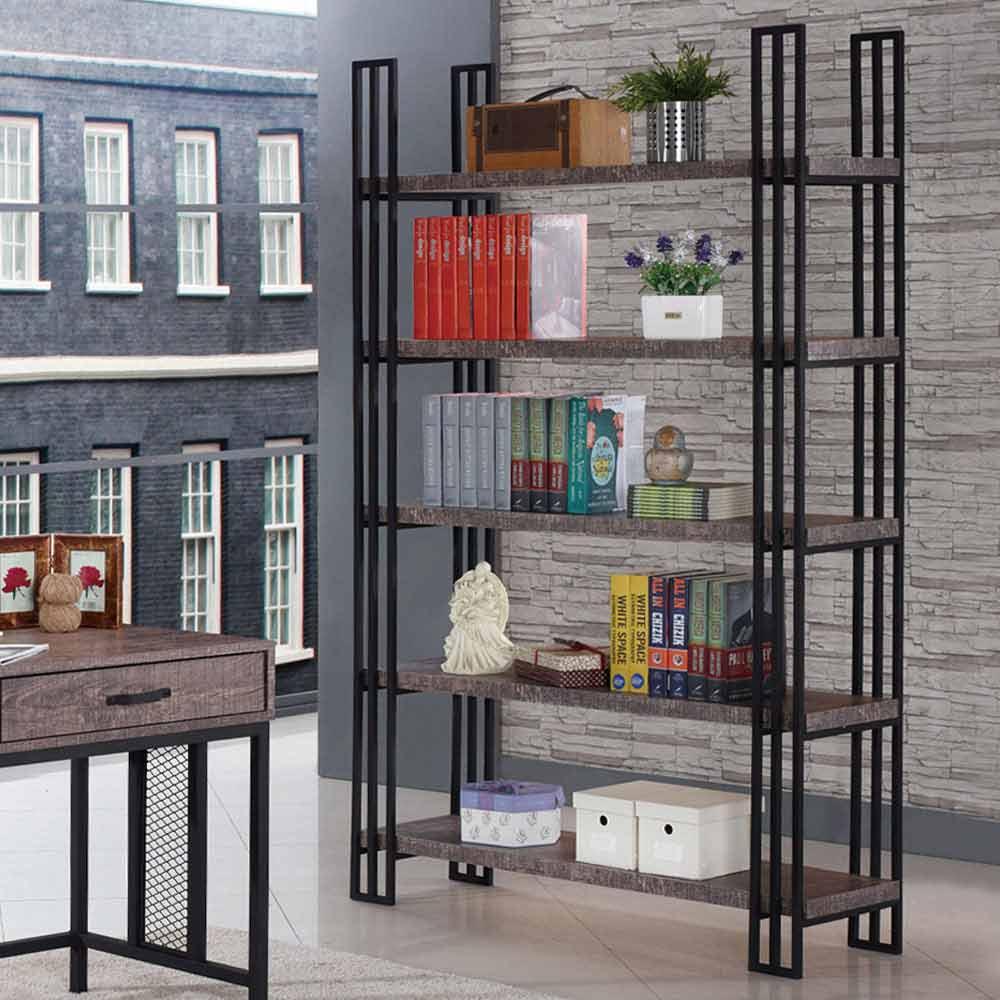 AT HOME - 馬汀4尺工業風仿舊木紋開放書櫃 120x33x190cm