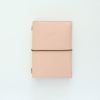 Funnymade 大人收納A6皮革書套-綁帶式-粉紅