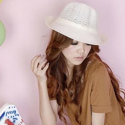 Aimee-Toff-圓頂編織草帽-白