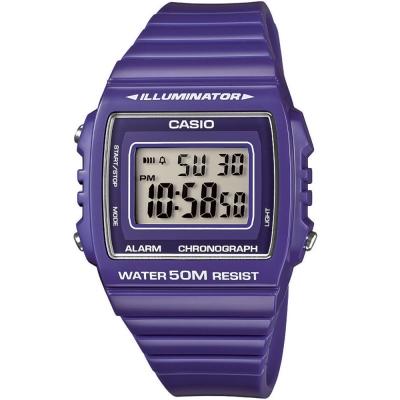 CASIO 超亮LED大螢幕方形數位錶(W-215H-6A)-活力紫/40mm