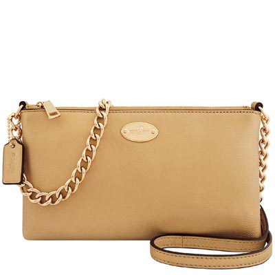 COACH-金色皮革壓紋鍊帶斜背包