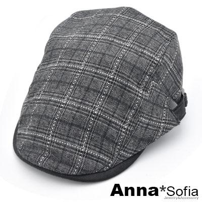 【<b>2</b>件69折】AnnaSofia 虛線方格紋 鴨舌帽小偷帽(黑灰系)