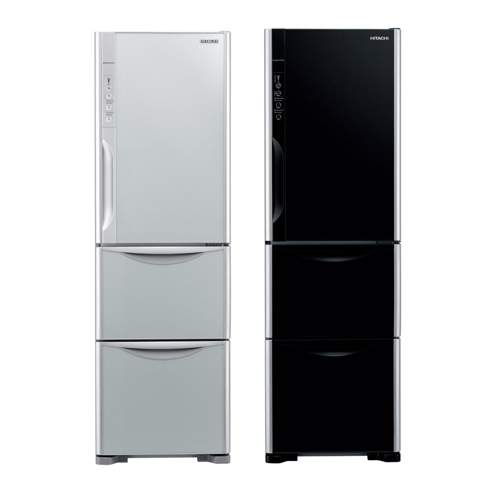 日立HITACHI 靜音變頻325L琉璃時尚三門電冰箱(RG36WS)