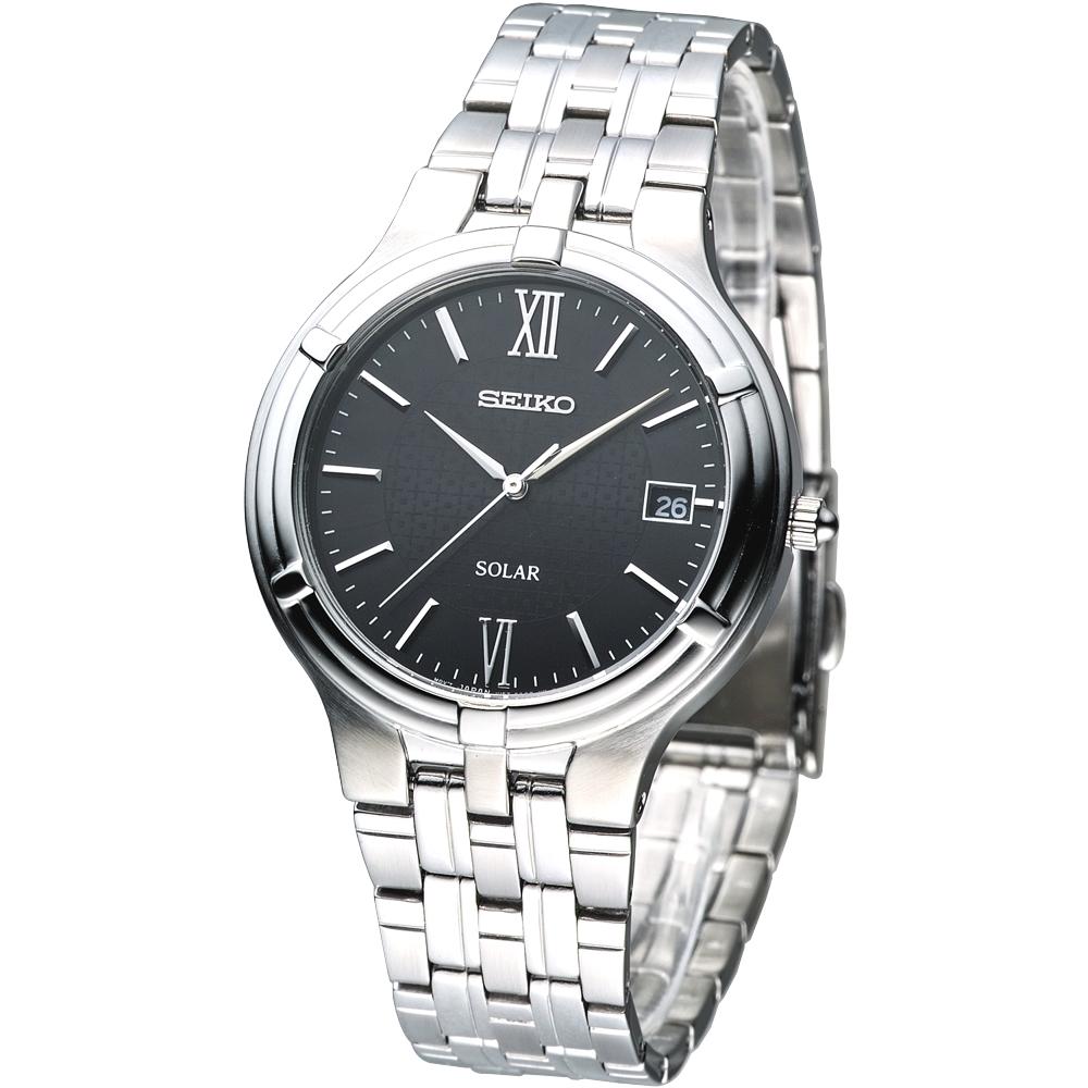 SEIKO solar 經典時尚太陽能腕錶(SNE027P1)-黑/38mm