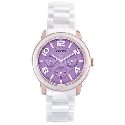GOTO Candy Magic 陶瓷時尚腕錶-IP玫x紫/ 39 mm
