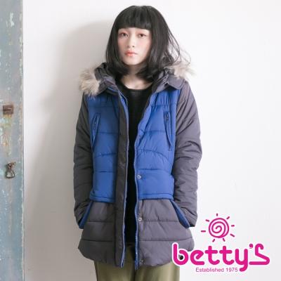 betty's貝蒂思 雙色拼接鋪棉毛毛連帽大衣(藍色)