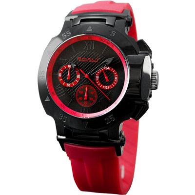 BAKLY 極速系列三環計時運動腕錶-黑x紅/紅錶帶/47mm