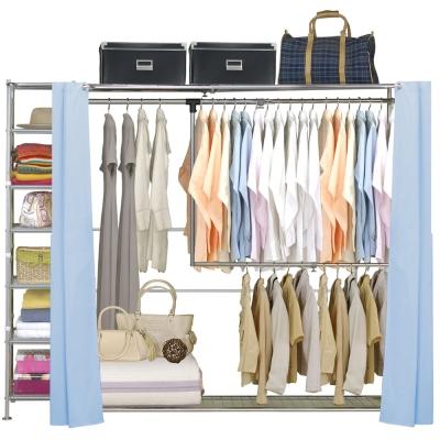 巴塞隆納-雙層雙桿伸縮衣櫥-附34公分收納櫃