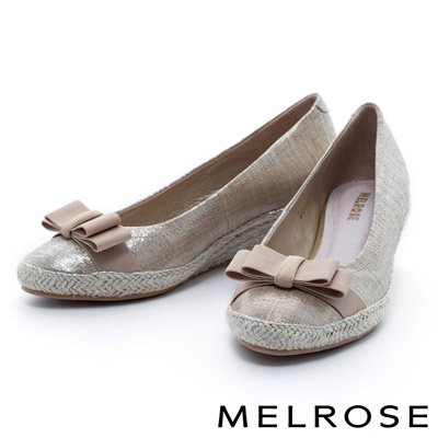 MELROSE-織帶蝴蝶結羊皮麻編楔型高跟鞋-金