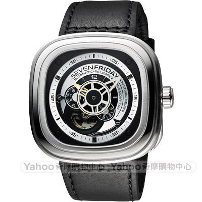 SEVENFRIDAY P1 解構世界自動上鍊機械錶-銀x黑/47mm