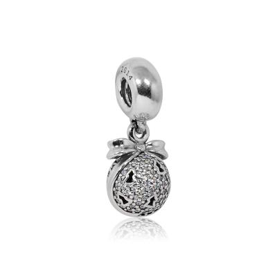 Pandora 潘朵拉 垂墜圓形鑲鋯許願聖誕樹 純銀墜飾 串珠