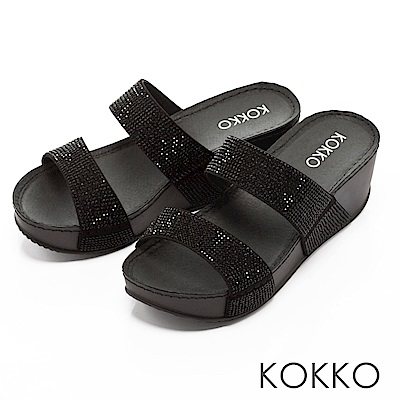 KOKKO-閃耀滿鑽寬版厚底涼拖鞋-經典黑