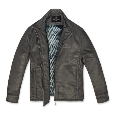 PB-時尚格紋內刷毛保暖外套-灰褐M-XXL