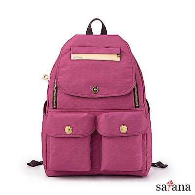 satana - Soldier 多功能拉鍊後背包 -紫色