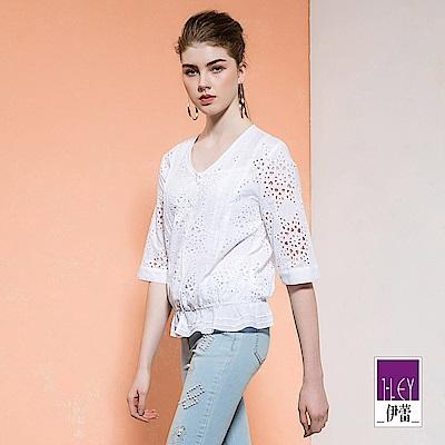 ILEY伊蕾 縷空刺繡舒適棉質兩件式上衣(白)
