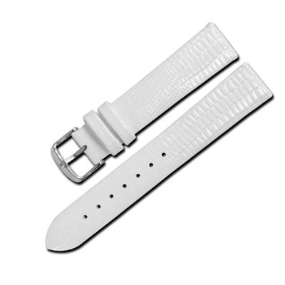Watchband /別緻鮮亮色澤蜥蜴紋路壓紋真皮錶帶 白色