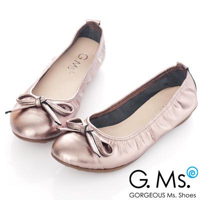 G.Ms. MIT系列-羊皮經典蝴蝶結娃娃鞋-奢華銀