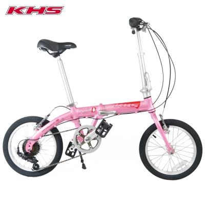 KHS 功學社 F-16D 鋁合金 16吋輪 6速折疊單車_粉紅色