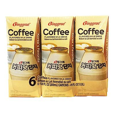 韓味不二 BINGGRAE咖啡牛奶(調味乳)(200mx6瓶)