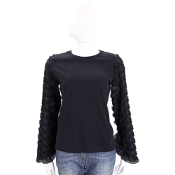 SEE BY CHLOE 黑色立體花朵飾棉質長袖上衣