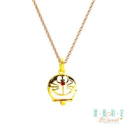 甜蜜約定 Doraemon 率真哆啦A夢黃金墜飾 送玫瑰鋼項鍊