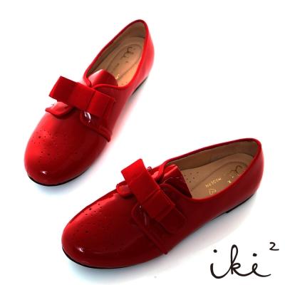 iki2甜娃娃-羊漆皮蝴蝶領平底鞋-淘氣紅