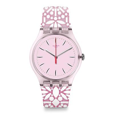 Swatch 英倫風情 FLEURIE 優雅粉玫手錶