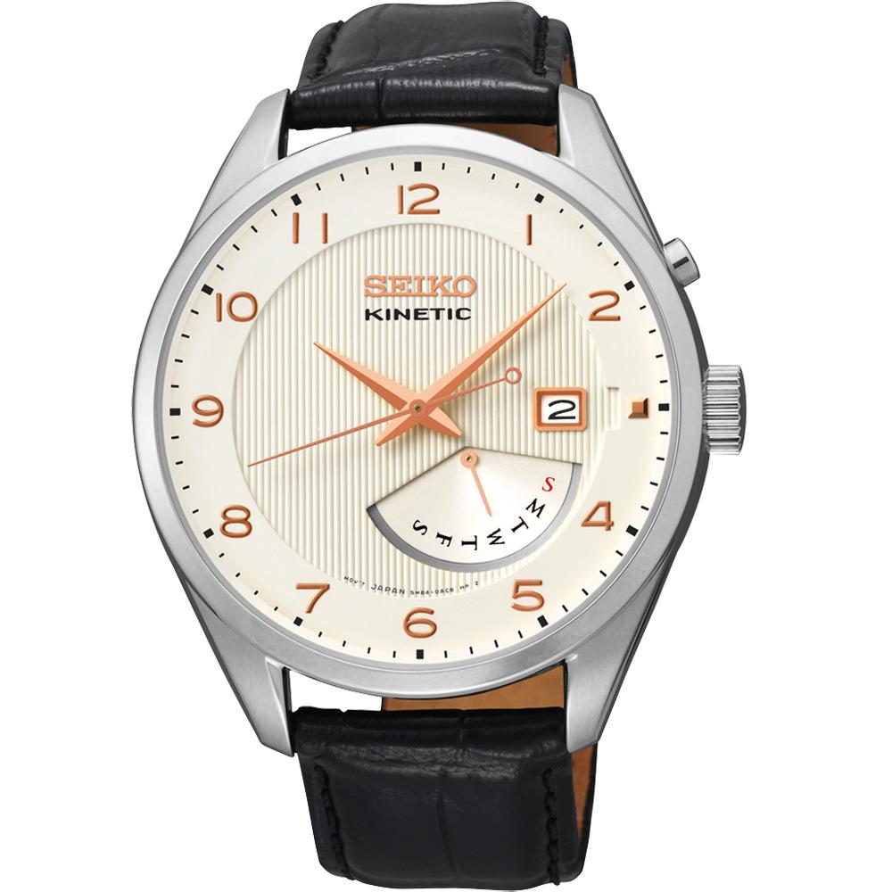 SEIKO Kinetic 日曆時尚人動電能腕錶-白/42mm