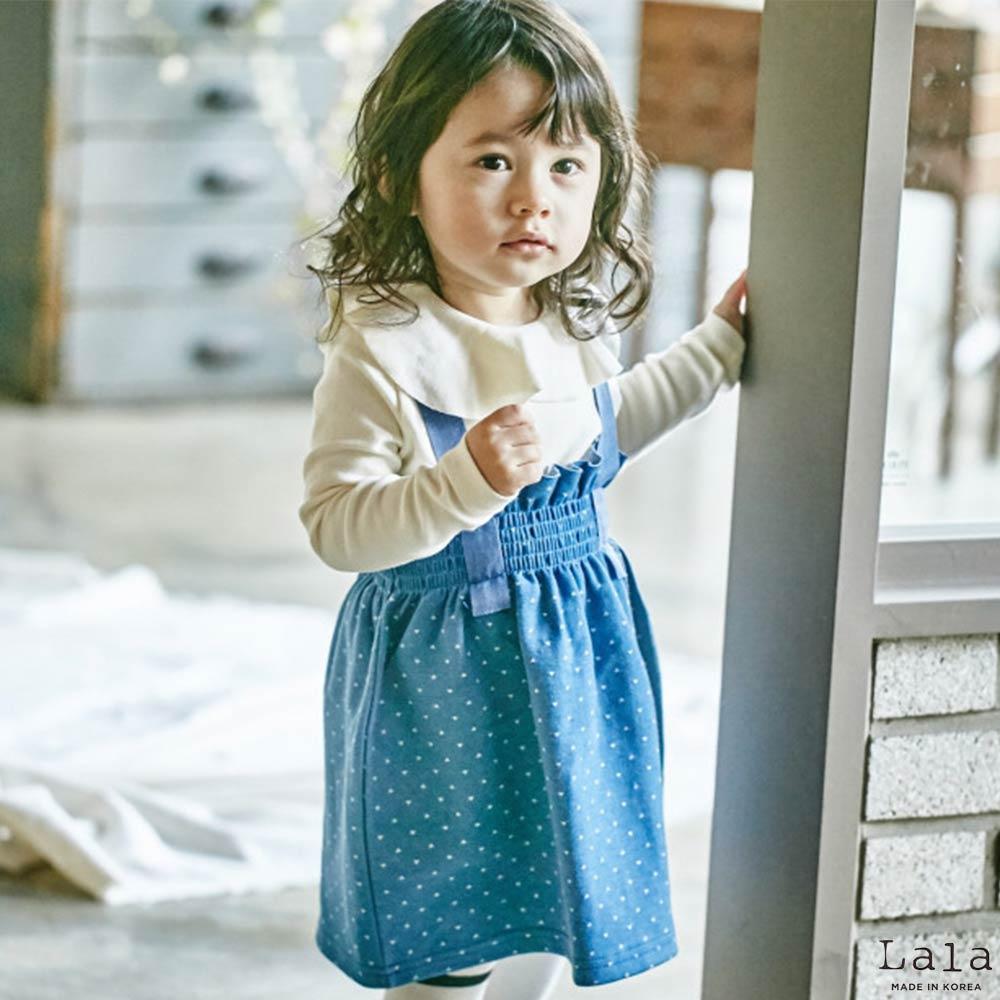 Lala韓國 藍色鬆緊小點點吊帶裙