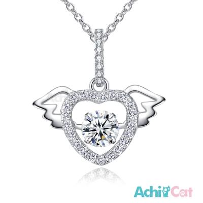 AchiCat 925純銀 跳舞的項鍊 天使之戀 愛心翅膀 鎖骨鍊