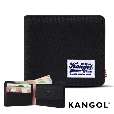 KANGOL 韓式潮流 多夾層/零錢袋橫式短皮夾+鑰匙圈禮盒-帆布黑