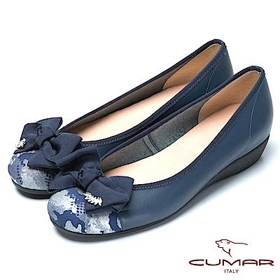CUMAR舒適真皮緞帶蝴蝶結真皮舒適鞋-深藍