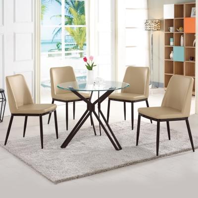 Boden-波里斯圓型玻璃洽談桌/餐桌椅組(一桌四椅)90x90x74cm