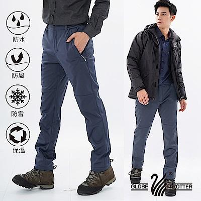 【遊遍天下】男款3D顯瘦防水防風禦寒軟殼刷毛褲GP20003灰藍