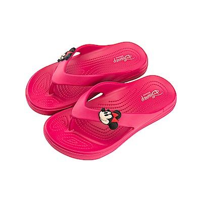 迪士尼 米妮 立體復古造型 夾腳拖鞋-桃