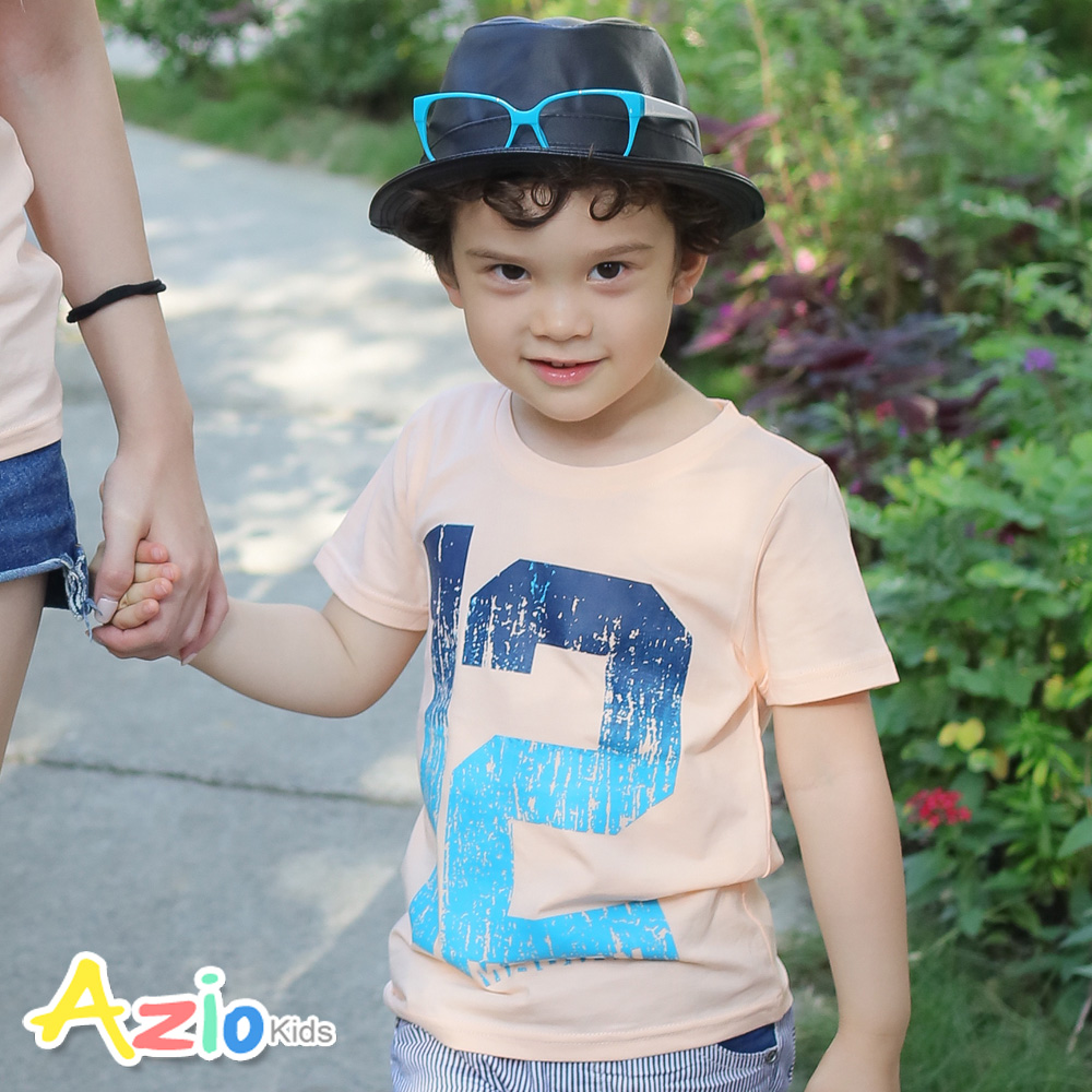 Azio Kids-漸層12斑駁數字棉質T恤(桔)