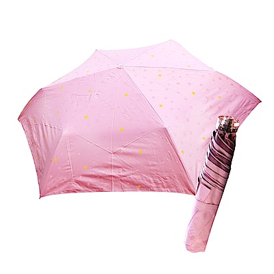 舒亦媚-抗UV防曬三折晴雨傘(閃亮星星-粉底粉星)