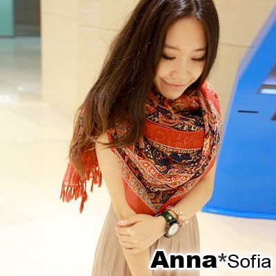 AnnaSofia-瑪亞圖騰-流蘇墬披肩圍巾-磚紅