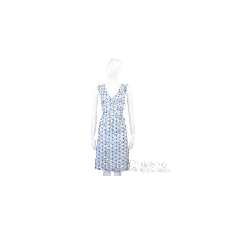 BLANCS MANTEAUX 藍色米花V領無袖洋裝
