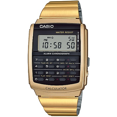 CASIO 潮流復古計算機個性電子錶(CA-506G-9A)-金/34.8mm