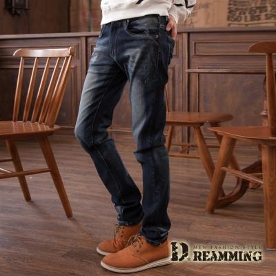 Dreamming 日韓刷色皮標伸縮小直筒牛仔褲