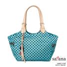 satana -929 Ladies 都會摩登 知性氣質托特包-薄荷藍圓點