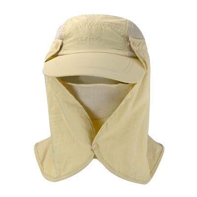 LEADER UPF50+抗UV高防曬速乾護頸遮陽帽 可拆釦子款(卡其色)