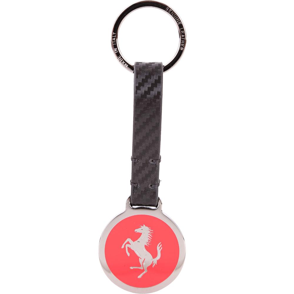 TOD'S for Ferrari 銀色圓牌法拉利聯名款吊飾/鑰匙圈(紅色)