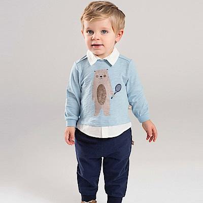 Dave Bella 天藍熊熊有領長袖上衣深藍長褲套裝2件組