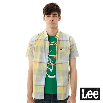Lee  格紋短袖襯衫/RG-男款-黃