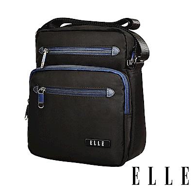 ELLE城市都會休旅系列大容量多隔層機能收納7吋平板休閒直式斜背/側背包-黑83495